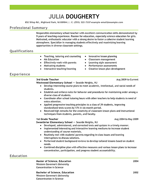resumes - Teaching Resume Format